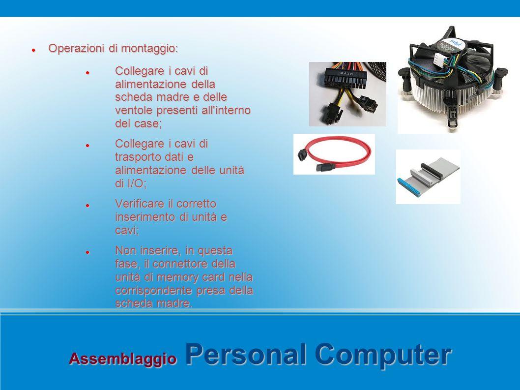 Assemblaggio Personal Computer Operazioni di montaggio: Operazioni di montaggio: Collegare i cavi di alimentazione della scheda madre e delle ventole
