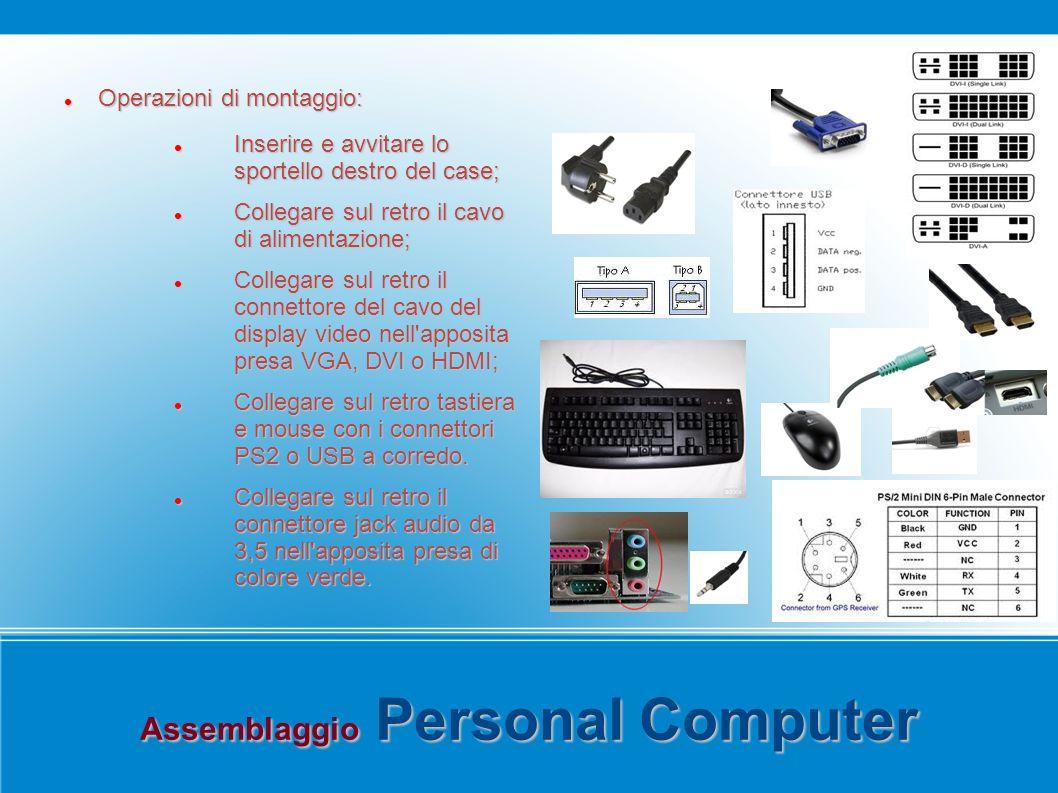 Assemblaggio Personal Computer Operazioni di montaggio: Operazioni di montaggio: Inserire e avvitare lo sportello destro del case; Inserire e avvitare lo sportello destro del case; Collegare sul retro il cavo di alimentazione; Collegare sul retro il cavo di alimentazione; Collegare sul retro il connettore del cavo del display video nell apposita presa VGA, DVI o HDMI; Collegare sul retro il connettore del cavo del display video nell apposita presa VGA, DVI o HDMI; Collegare sul retro tastiera e mouse con i connettori PS2 o USB a corredo.