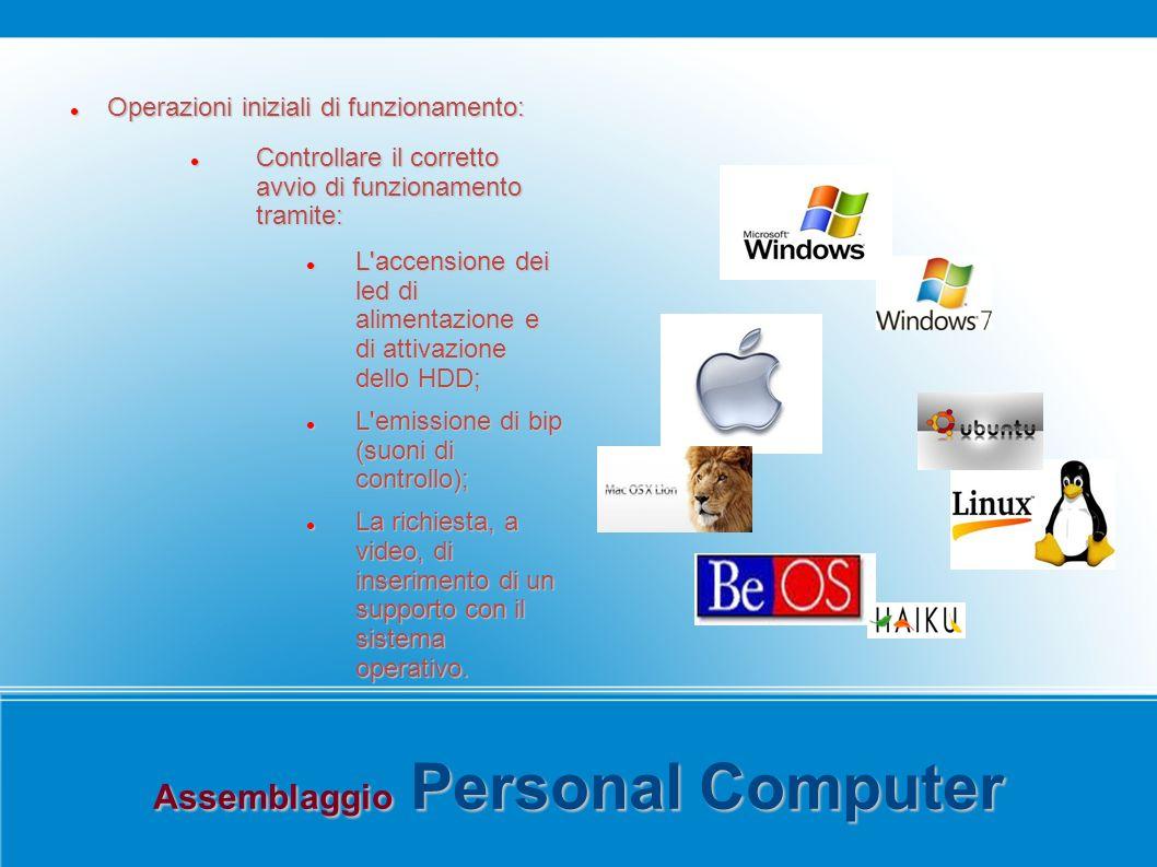 Assemblaggio Personal Computer Operazioni iniziali di funzionamento: Operazioni iniziali di funzionamento: Controllare il corretto avvio di funzionamento tramite: Controllare il corretto avvio di funzionamento tramite: L accensione dei led di alimentazione e di attivazione dello HDD; L accensione dei led di alimentazione e di attivazione dello HDD; L emissione di bip (suoni di controllo); L emissione di bip (suoni di controllo); La richiesta, a video, di inserimento di un supporto con il sistema operativo.