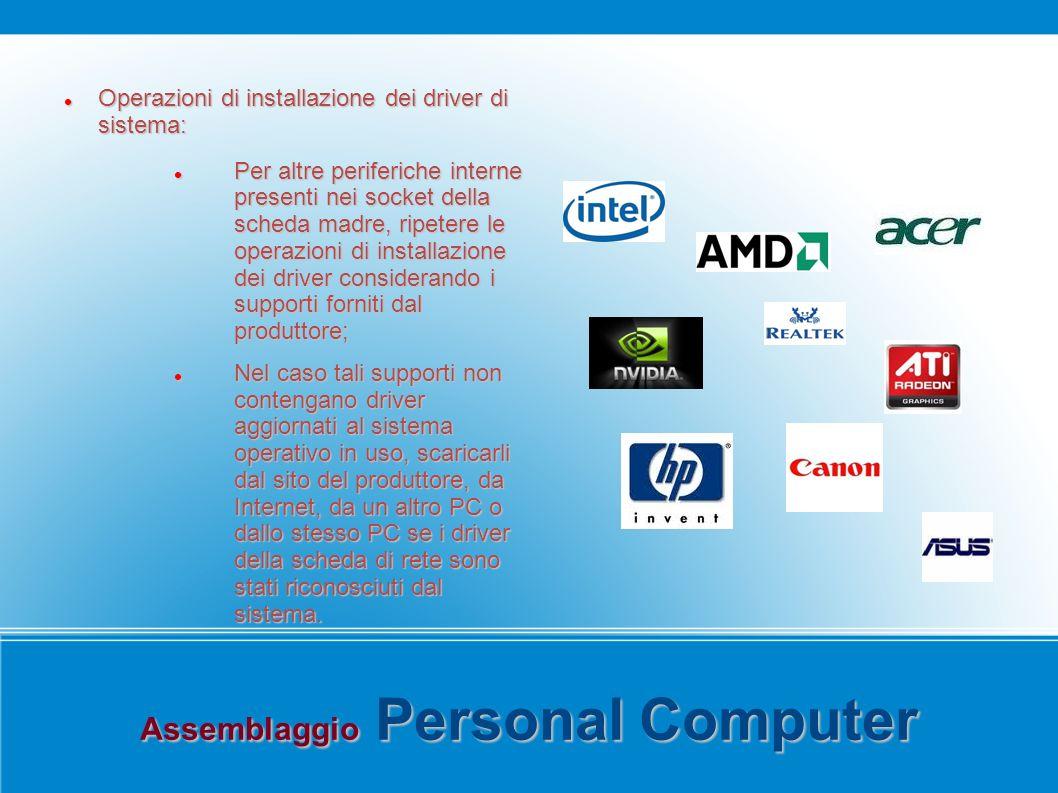 Assemblaggio Personal Computer Operazioni di installazione dei driver di sistema: Operazioni di installazione dei driver di sistema: Per altre perifer