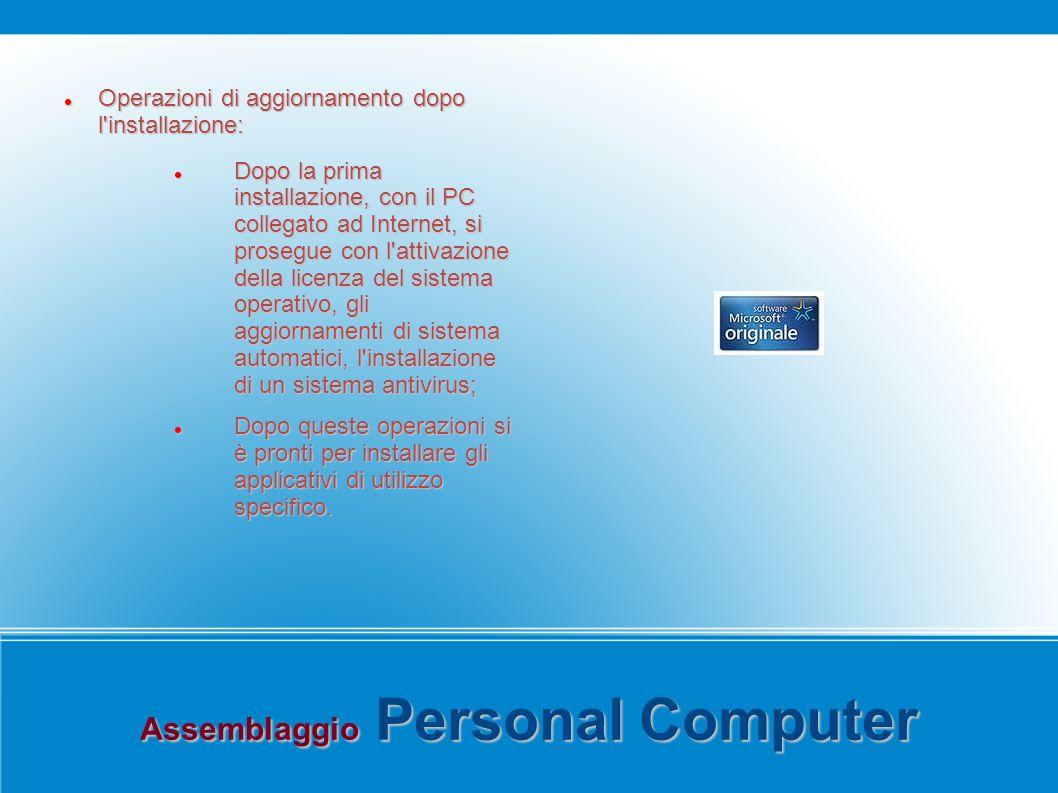Assemblaggio Personal Computer Operazioni di aggiornamento dopo l'installazione: Operazioni di aggiornamento dopo l'installazione: Dopo la prima insta
