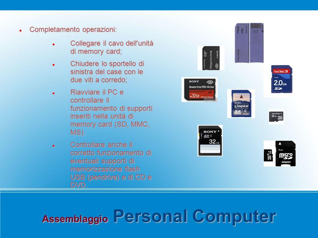 Assemblaggio Personal Computer Completamento operazioni: Completamento operazioni: Collegare il cavo dell'unità di memory card; Collegare il cavo dell