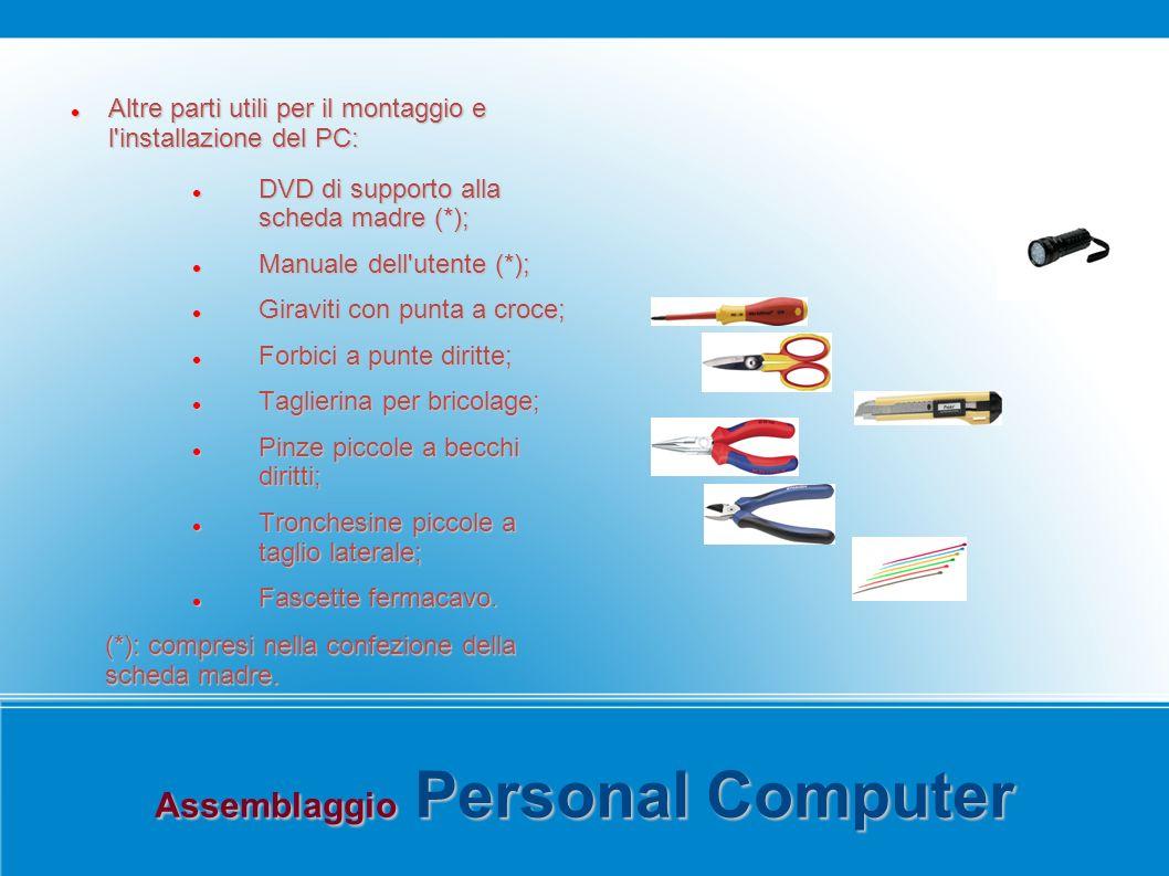 Assemblaggio Personal Computer Altre parti utili per il montaggio e l'installazione del PC: Altre parti utili per il montaggio e l'installazione del P