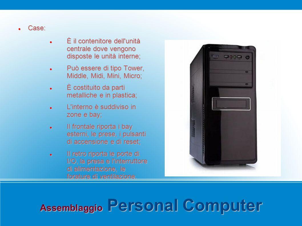 Assemblaggio Personal Computer Case: Case: È il contenitore dell'unità centrale dove vengono disposte le unità interne; È il contenitore dell'unità ce