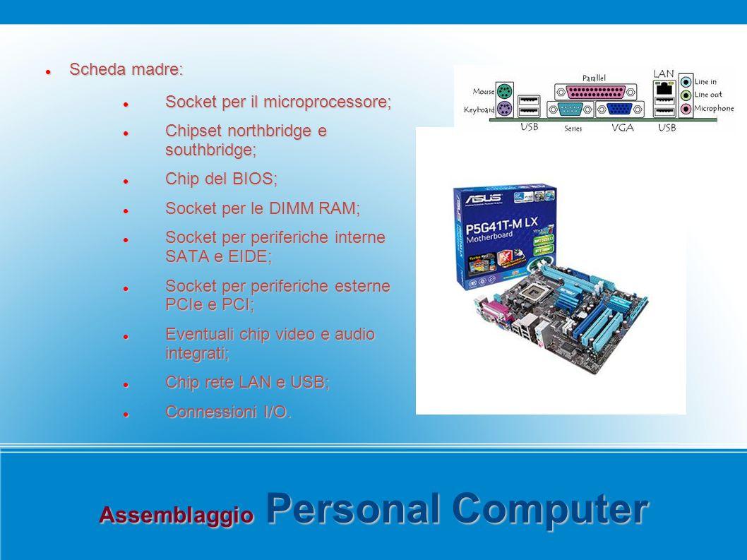 Assemblaggio Personal Computer Scheda madre: Scheda madre: Socket per il microprocessore; Socket per il microprocessore; Chipset northbridge e southbridge; Chipset northbridge e southbridge; Chip del BIOS; Chip del BIOS; Socket per le DIMM RAM; Socket per le DIMM RAM; Socket per periferiche interne SATA e EIDE; Socket per periferiche interne SATA e EIDE; Socket per periferiche esterne PCIe e PCI; Socket per periferiche esterne PCIe e PCI; Eventuali chip video e audio integrati; Eventuali chip video e audio integrati; Chip rete LAN e USB; Chip rete LAN e USB; Connessioni I/O.