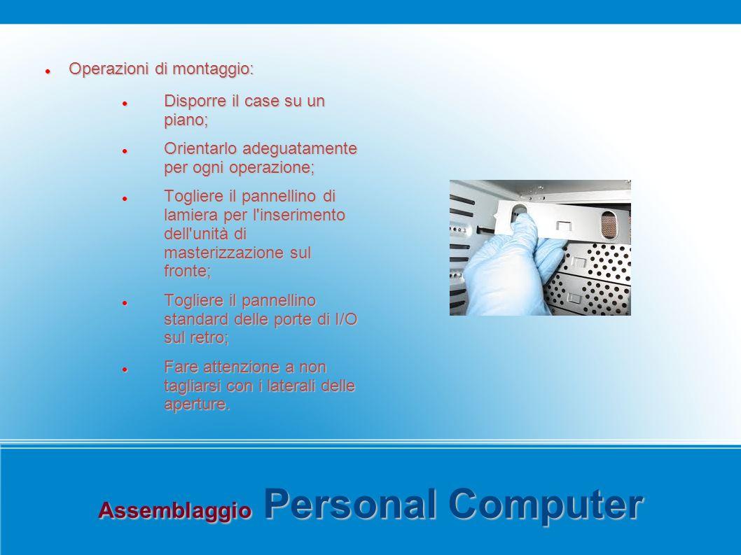 Assemblaggio Personal Computer Operazioni di montaggio: Operazioni di montaggio: Disporre il case su un piano; Disporre il case su un piano; Orientarl