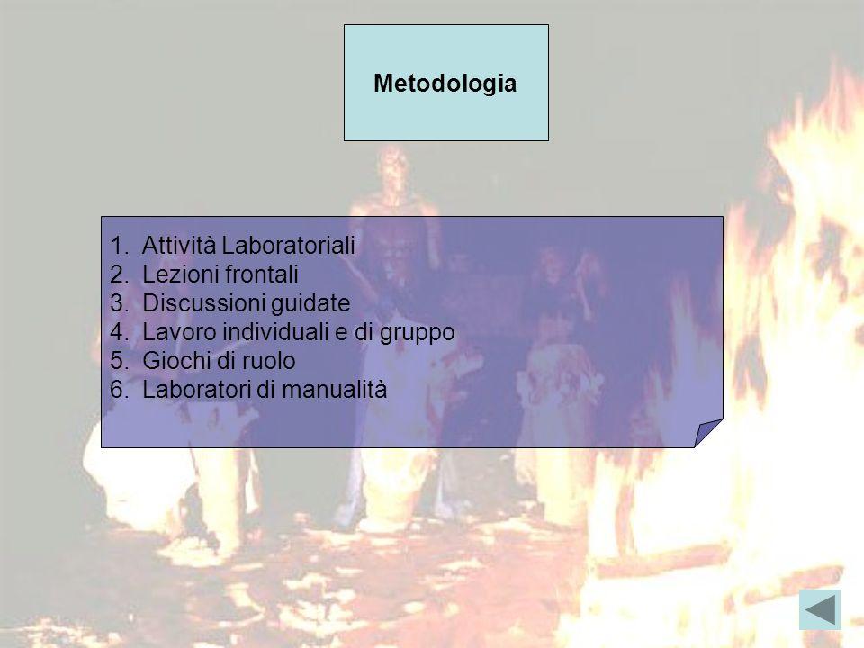 Metodologia 1.Attività Laboratoriali 2.Lezioni frontali 3.Discussioni guidate 4.Lavoro individuali e di gruppo 5.Giochi di ruolo 6.Laboratori di manualità