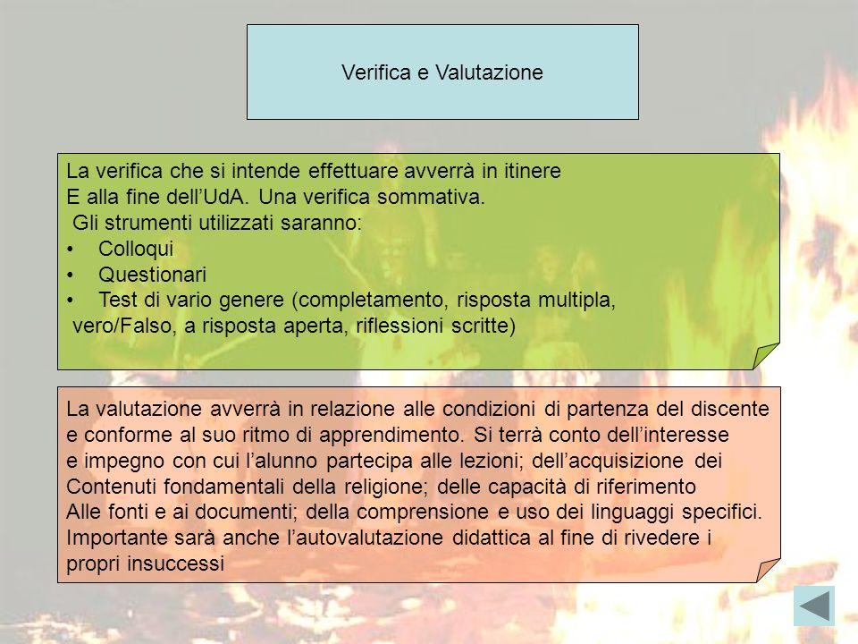 Verifica e Valutazione La verifica che si intende effettuare avverrà in itinere E alla fine dellUdA.
