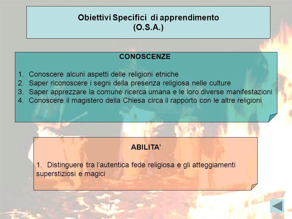 Obiettivi Specifici di apprendimento (O.S.A.) CONOSCENZE 1.Conoscere alcuni aspetti delle religioni etniche 2.Saper riconoscere i segni della presenza