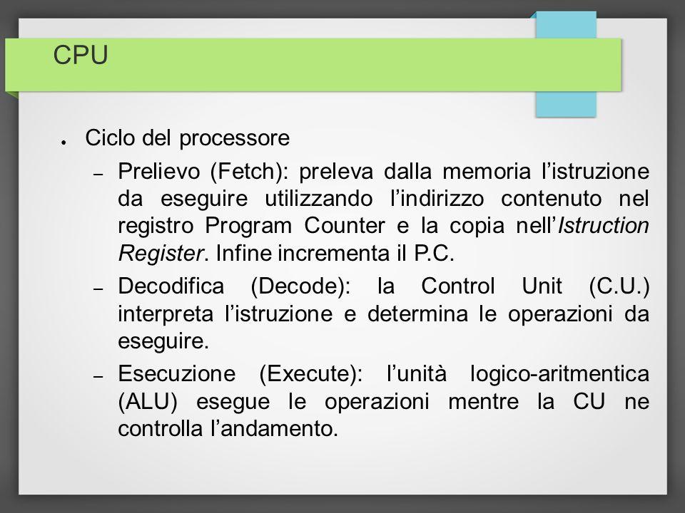 CPU Ciclo del processore – Prelievo (Fetch): preleva dalla memoria listruzione da eseguire utilizzando lindirizzo contenuto nel registro Program Count