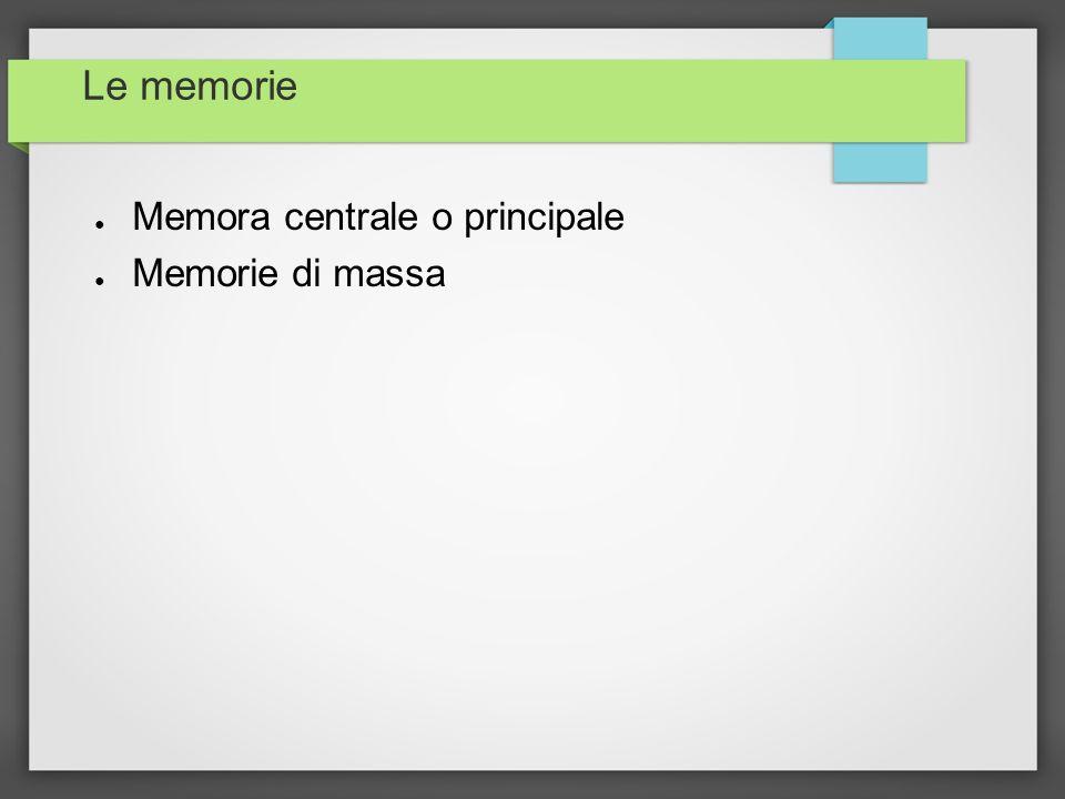 Le memorie Memora centrale o principale Memorie di massa