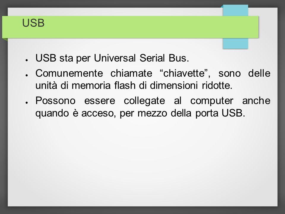 USB USB sta per Universal Serial Bus. Comunemente chiamate chiavette, sono delle unità di memoria flash di dimensioni ridotte. Possono essere collegat