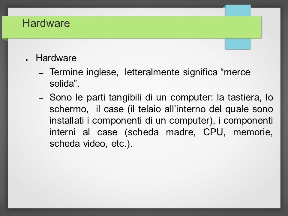 Hardware – Termine inglese, letteralmente significa merce solida. – Sono le parti tangibili di un computer: la tastiera, lo schermo, il case (il telai