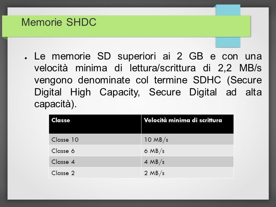 Memorie SHDC Le memorie SD superiori ai 2 GB e con una velocità minima di lettura/scrittura di 2,2 MB/s vengono denominate col termine SDHC (Secure Di