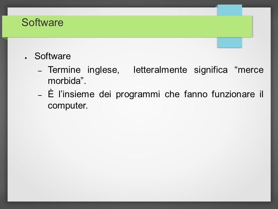 Software – Termine inglese, letteralmente significa merce morbida. – È linsieme dei programmi che fanno funzionare il computer.