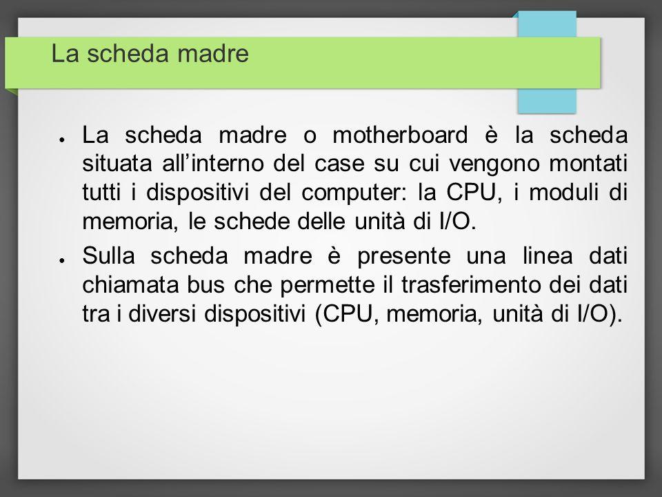 La scheda madre La scheda madre o motherboard è la scheda situata allinterno del case su cui vengono montati tutti i dispositivi del computer: la CPU,