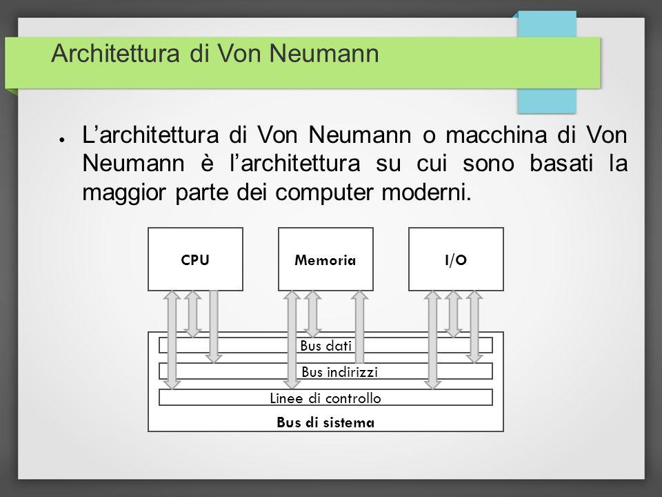 Architettura di Von Neumann Lo schema si basa su quattro parti fondamentali: – Bus di sistema – CPU (unità di elaborazione o unità centrale) – Memoria – Unità di I/O (unità di input e unità di output) I dati e le istruzioni sono memorizzati nella stessa memoria.