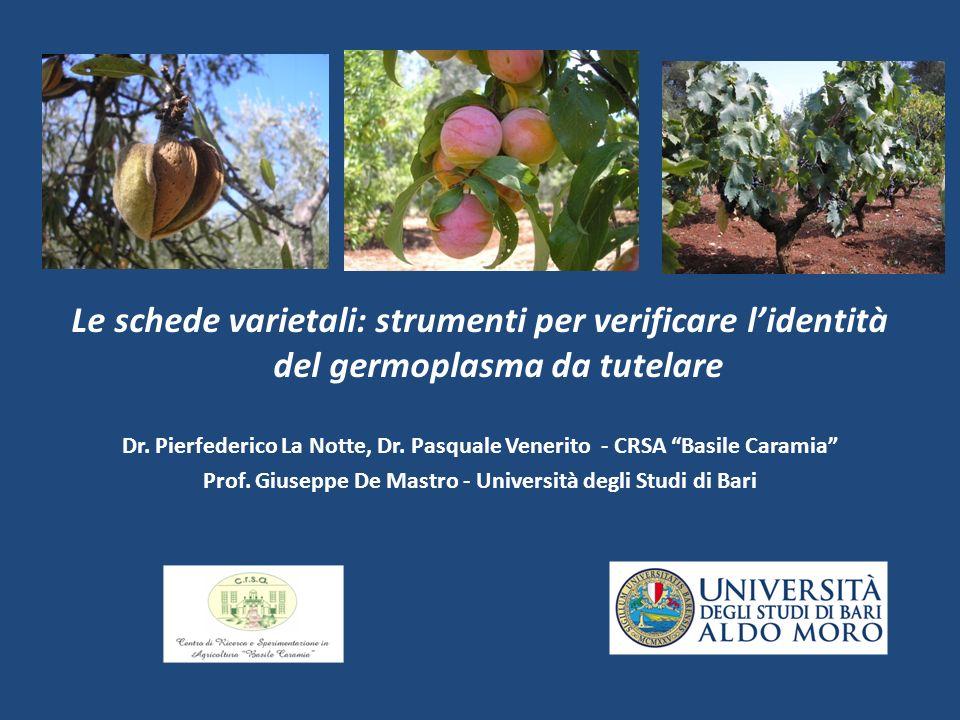 Le schede varietali: strumenti per verificare lidentità del germoplasma da tutelare Dr.