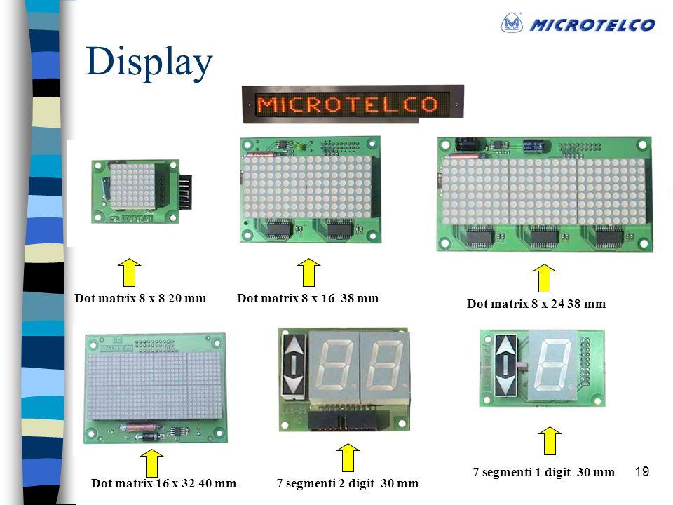 19 Display Dot matrix 8 x 8 20 mm Dot matrix 16 x 32 40 mm Dot matrix 8 x 16 38 mm Dot matrix 8 x 24 38 mm 7 segmenti 2 digit 30 mm 7 segmenti 1 digit 30 mm