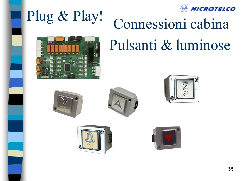 35 Connessioni cabina Plug & Play! Pulsanti & luminose