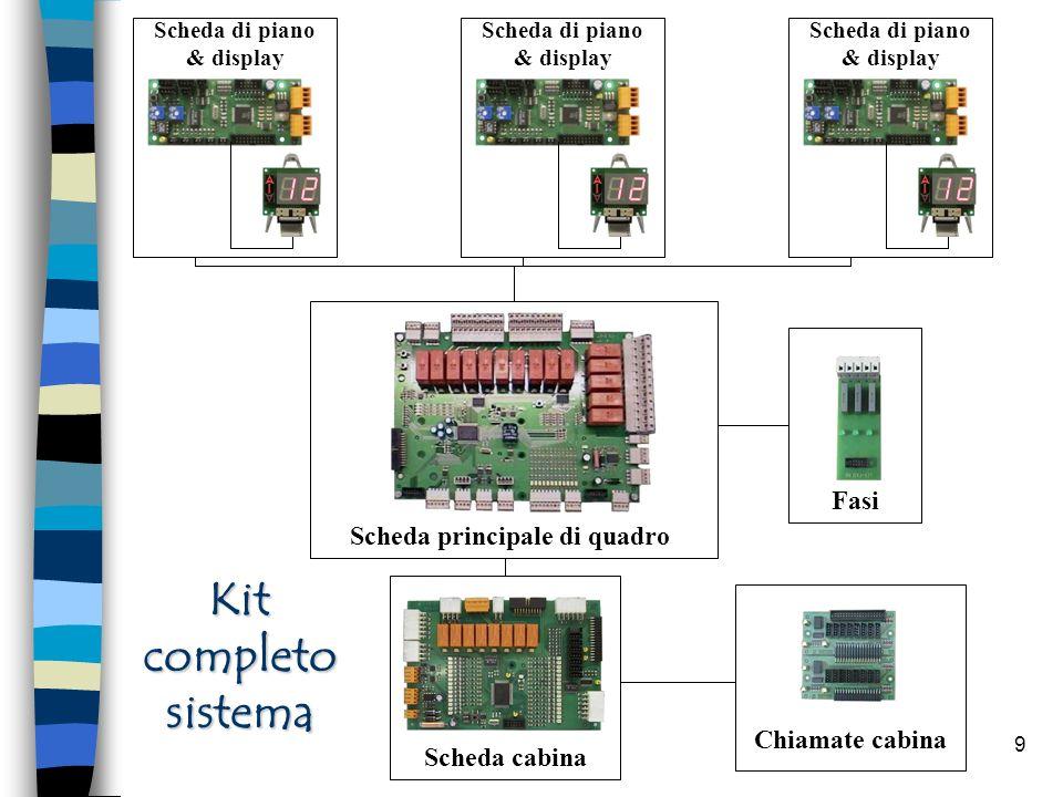 9 Scheda principale di quadro Scheda cabina Scheda di piano & display Kit completo sistema Fasi Chiamate cabina
