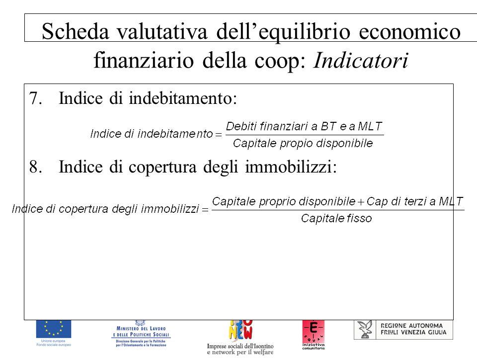 Scheda valutativa dellequilibrio economico finanziario della coop: Indicatori 7.Indice di indebitamento: 8.Indice di copertura degli immobilizzi: