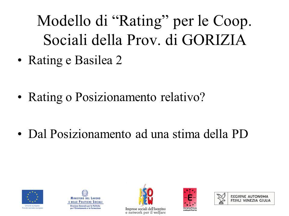 Modello di Rating per le Coop. Sociali della Prov. di GORIZIA Rating e Basilea 2 Rating o Posizionamento relativo? Dal Posizionamento ad una stima del