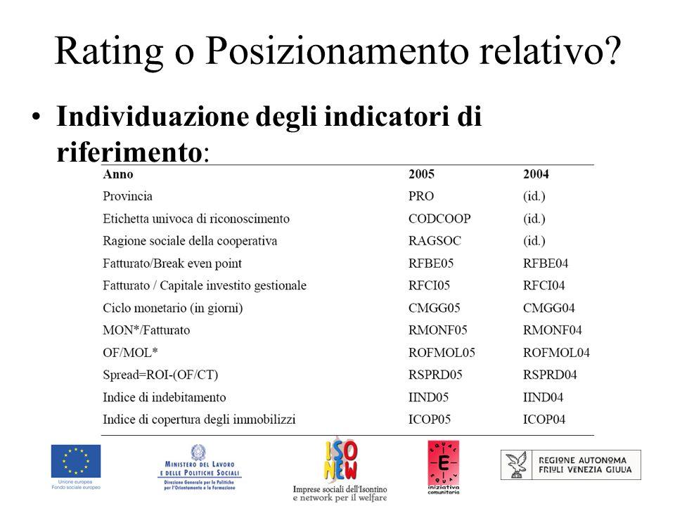 Rating o Posizionamento relativo? Individuazione degli indicatori di riferimento: