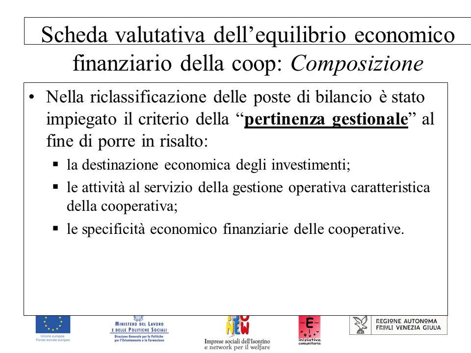 Scheda valutativa dellequilibrio economico finanziario della coop: Composizione Nella riclassificazione delle poste di bilancio è stato impiegato il c