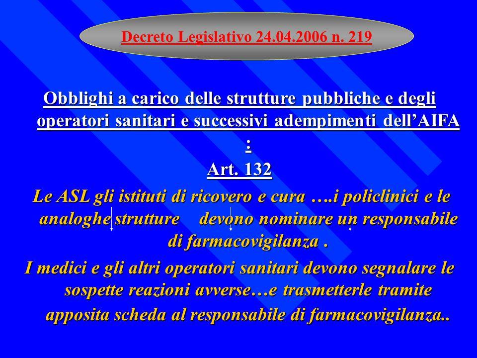 Decreto Legislativo 24.04.2006 n. 219 Obblighi a carico delle strutture pubbliche e degli operatori sanitari e successivi adempimenti dellAIFA : Art.