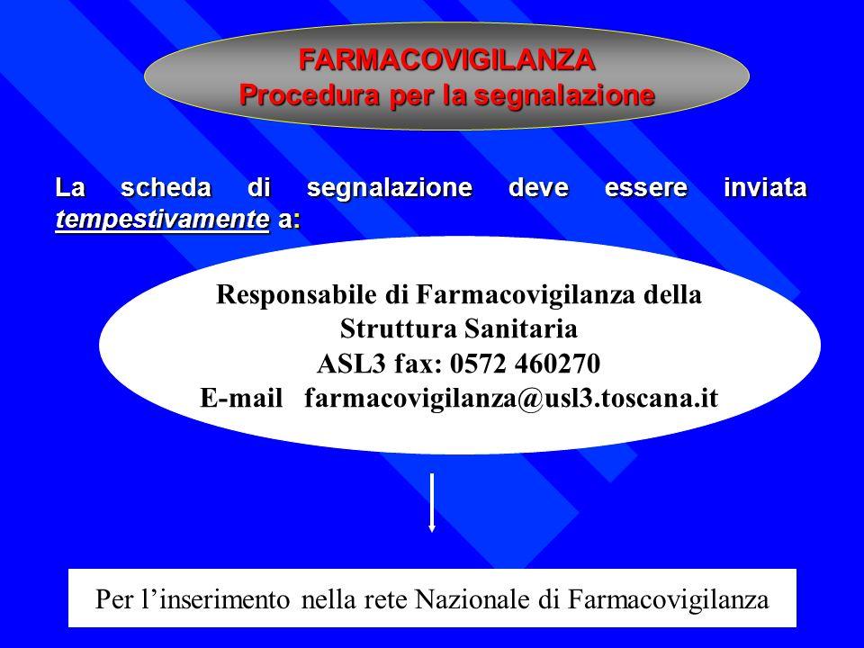 La scheda di segnalazione deve essere inviata tempestivamente a: FARMACOVIGILANZA Procedura per la segnalazione Responsabile di Farmacovigilanza della
