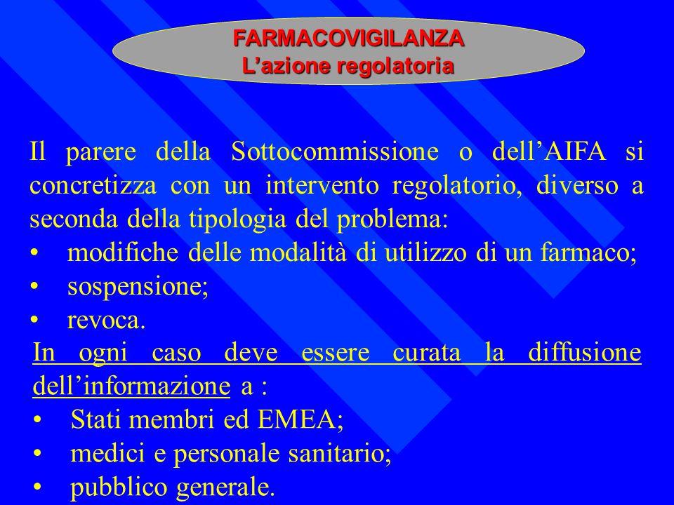 FARMACOVIGILANZA Lazione regolatoria Il parere della Sottocommissione o dellAIFA si concretizza con un intervento regolatorio, diverso a seconda della