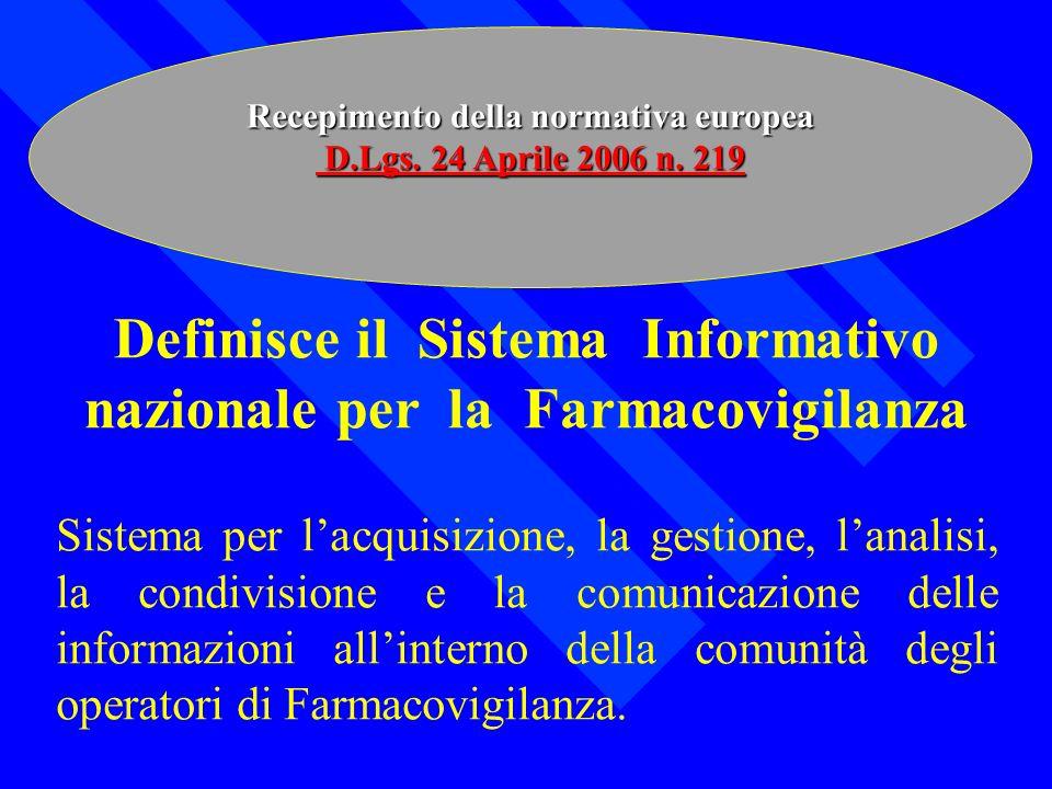 Recepimento della normativa europea D.Lgs. 24 Aprile 2006 n. 219 D.Lgs. 24 Aprile 2006 n. 219 Definisce il Sistema Informativo nazionale per la Farmac