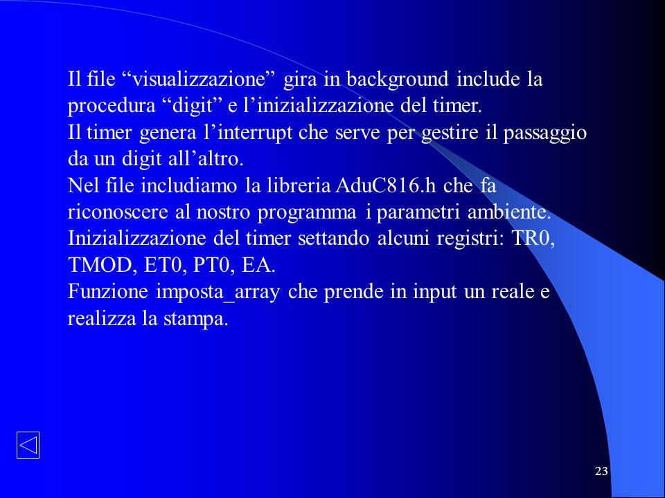 23 Il file visualizzazione gira in background include la procedura digit e linizializzazione del timer. Il timer genera linterrupt che serve per gesti