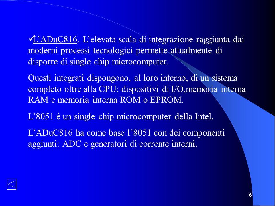 6 LADuC816. Lelevata scala di integrazione raggiunta dai moderni processi tecnologici permette attualmente di disporre di single chip microcomputer. Q