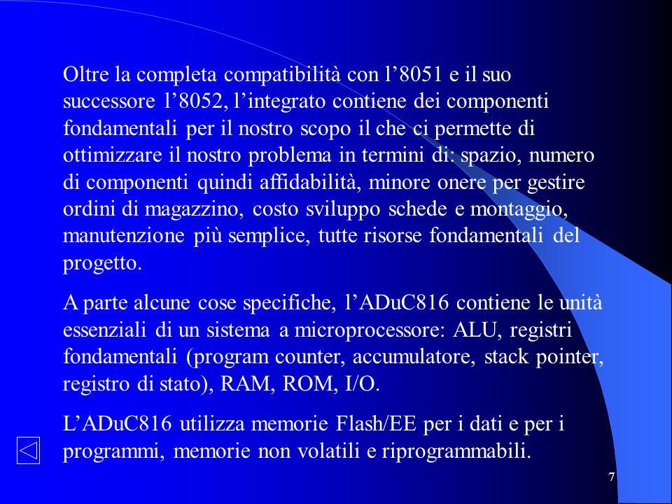 7 Oltre la completa compatibilità con l8051 e il suo successore l8052, lintegrato contiene dei componenti fondamentali per il nostro scopo il che ci p