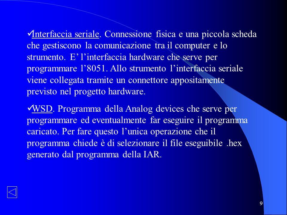 30 Prova pratica dello strumento Programmazione del microcontrollore: colleghiamo, tramite linterfaccia seriale, le schede con il computer, eseguiamo il programma WSD caricando il codice nella memoria programmi Flash/EE.
