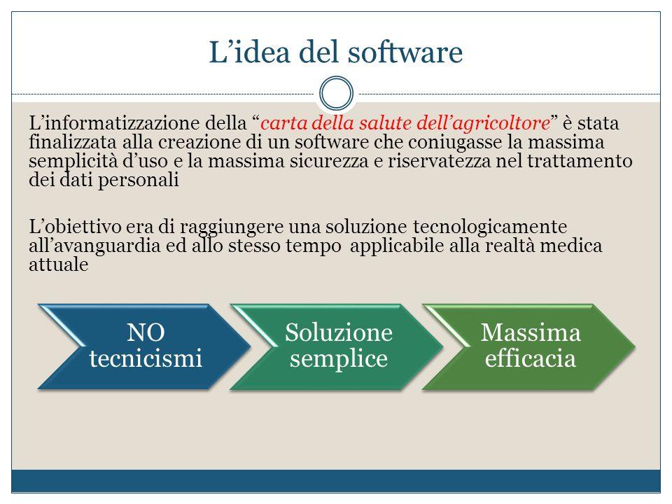 Lidea del software Linformatizzazione della carta della salute dellagricoltore è stata finalizzata alla creazione di un software che coniugasse la mas