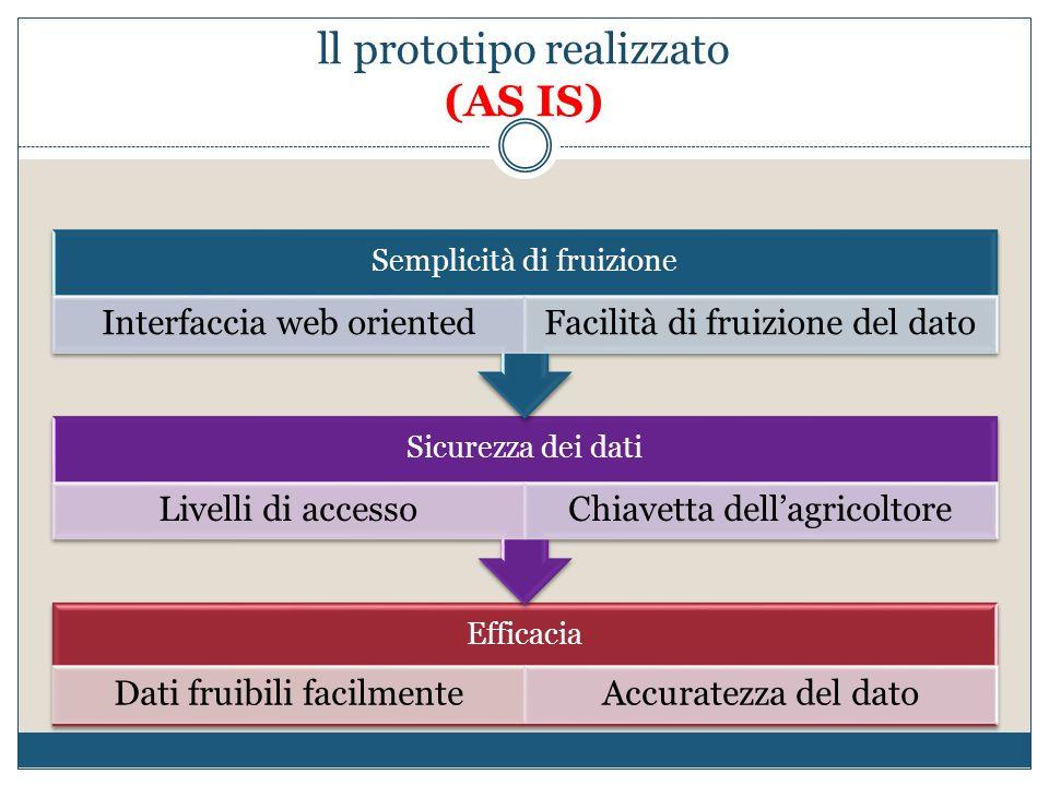 ll prototipo realizzato (AS IS) Efficacia Dati fruibili facilmenteAccuratezza del dato Sicurezza dei dati Livelli di accessoChiavetta dellagricoltore