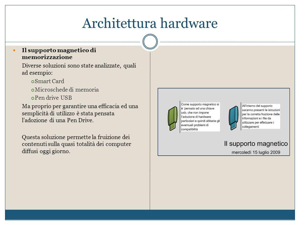 Architettura hardware Il supporto magnetico di memorizzazione Diverse soluzioni sono state analizzate, quali ad esempio: Smart Card Microschede di mem