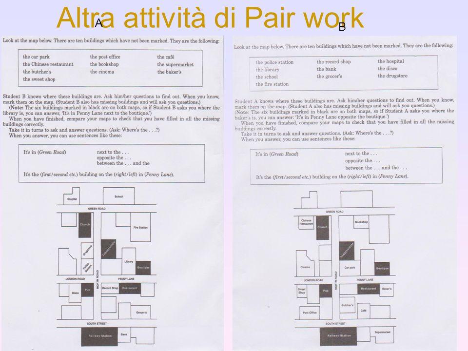 Altra attività di Pair work A B
