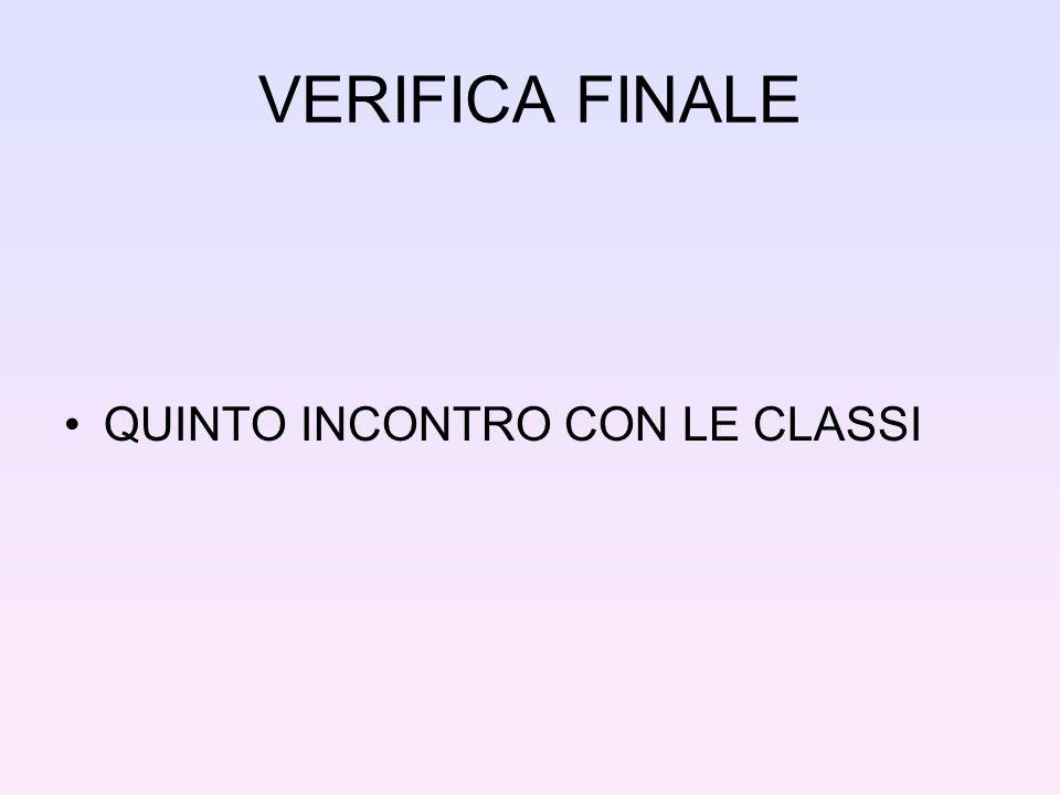 VERIFICA FINALE QUINTO INCONTRO CON LE CLASSI