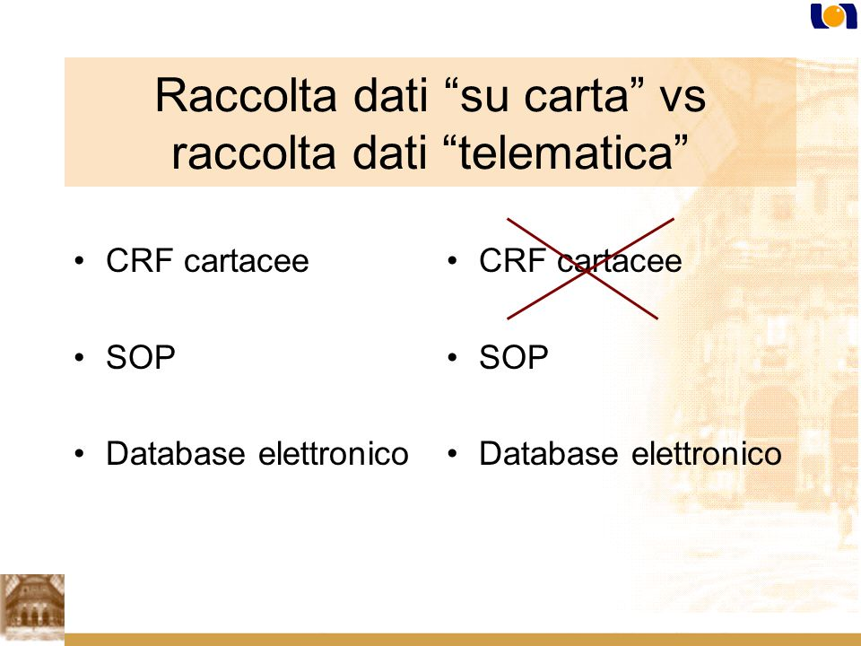 Raccolta dati su carta vs raccolta dati telematica CRF cartacee SOP Database elettronico CRF cartacee SOP Database elettronico