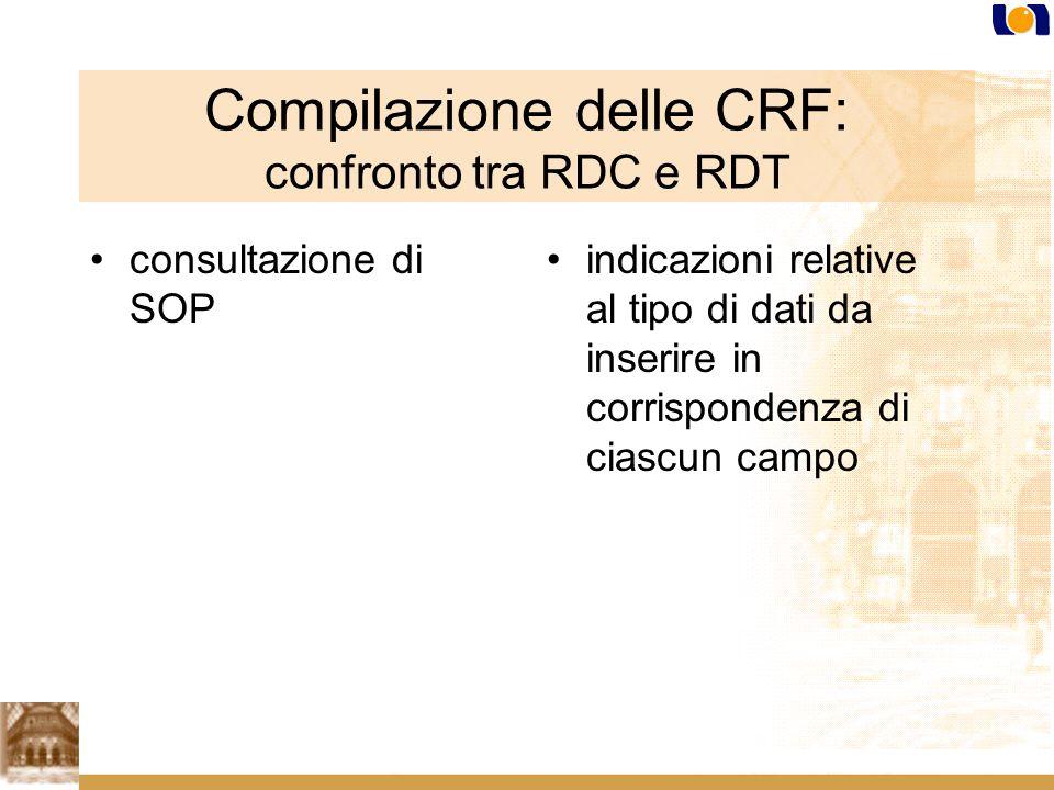 Compilazione delle CRF: confronto tra RDC e RDT consultazione di SOP indicazioni relative al tipo di dati da inserire in corrispondenza di ciascun campo