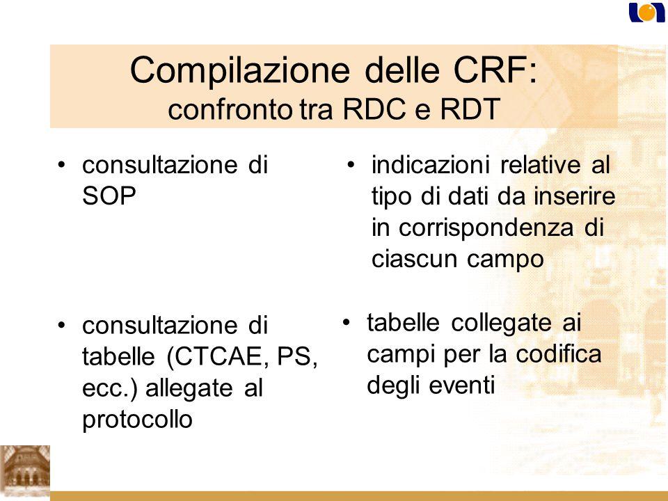 Compilazione delle CRF: confronto tra RDC e RDT consultazione di SOP indicazioni relative al tipo di dati da inserire in corrispondenza di ciascun campo consultazione di tabelle (CTCAE, PS, ecc.) allegate al protocollo tabelle collegate ai campi per la codifica degli eventi
