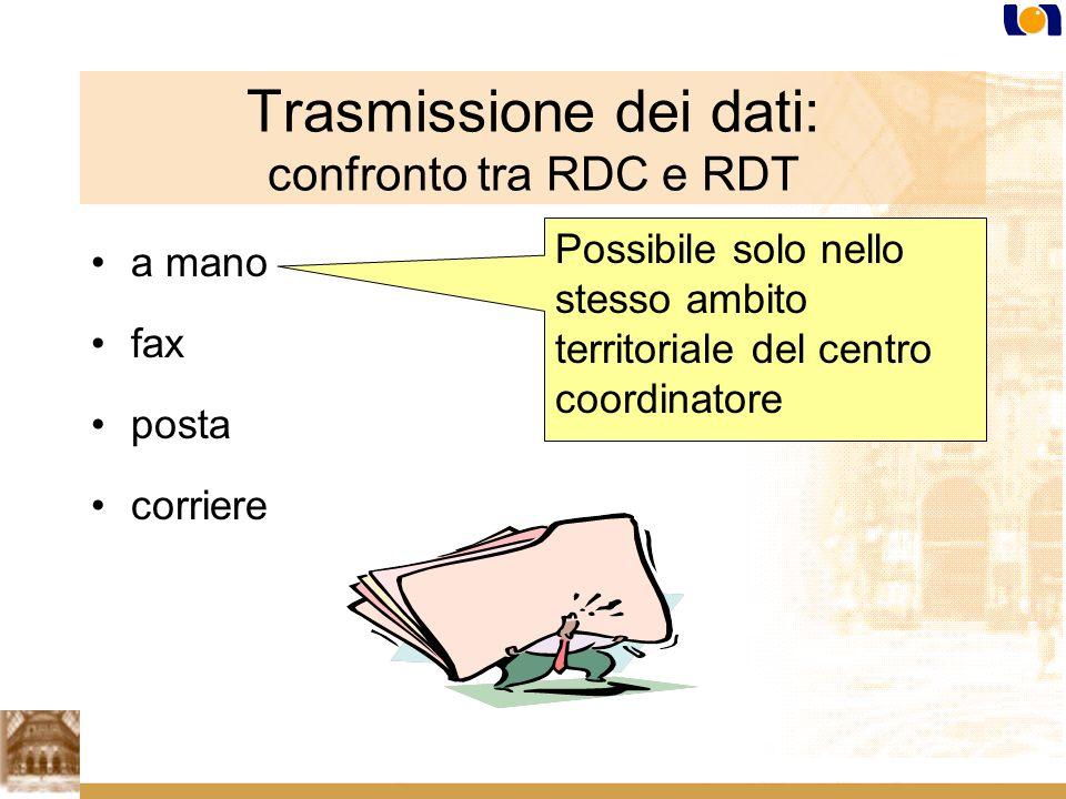 Trasmissione dei dati: confronto tra RDC e RDT a mano fax posta corriere Possibile solo nello stesso ambito territoriale del centro coordinatore