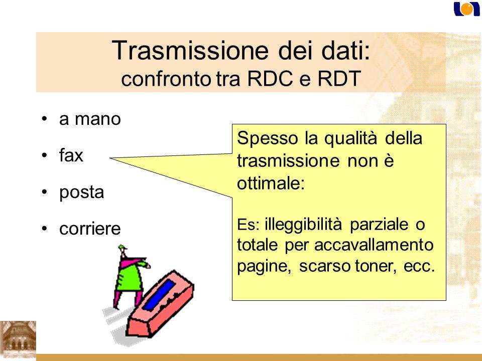 Trasmissione dei dati: confronto tra RDC e RDT a mano fax posta corriere Spesso la qualità della trasmissione non è ottimale: Es: illeggibilità parziale o totale per accavallamento pagine, scarso toner, ecc.