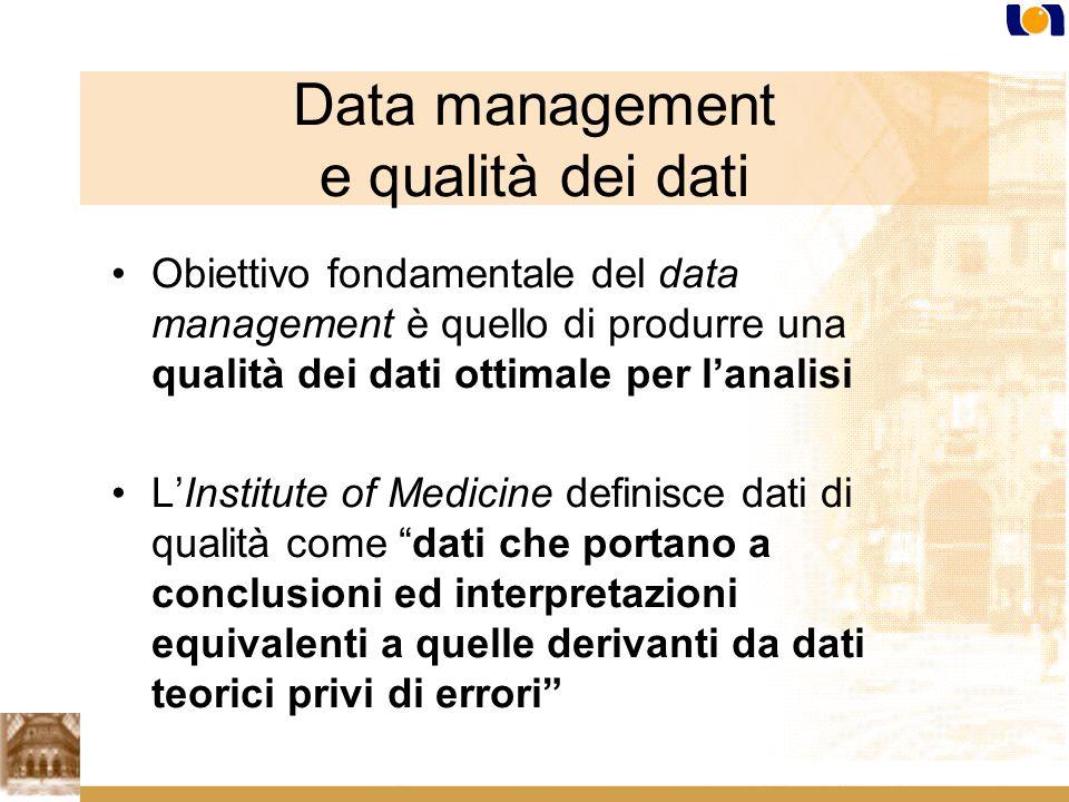 Data management e qualità dei dati Obiettivo fondamentale del data management è quello di produrre una qualità dei dati ottimale per lanalisi LInstitute of Medicine definisce dati di qualità come dati che portano a conclusioni ed interpretazioni equivalenti a quelle derivanti da dati teorici privi di errori