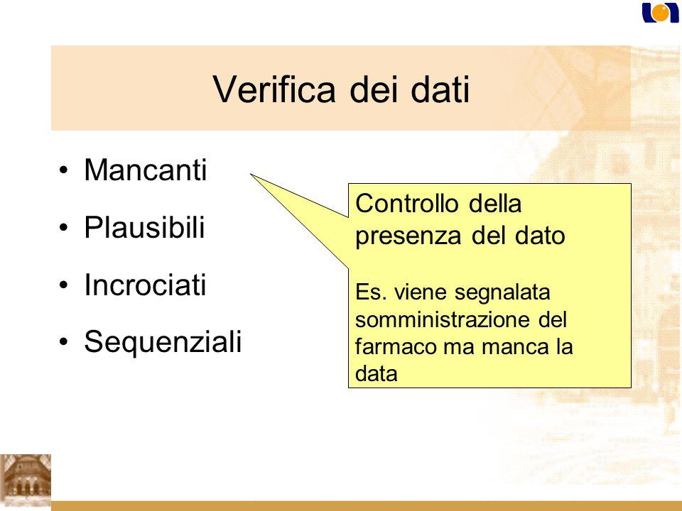Mancanti Plausibili Incrociati Sequenziali Controllo della presenza del dato Es.