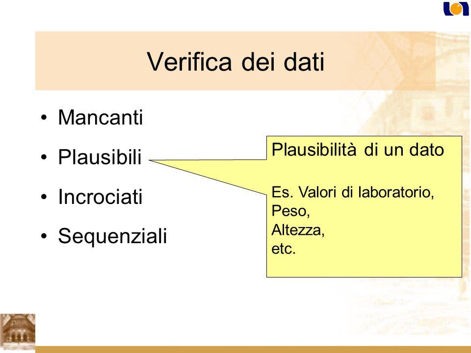 Mancanti Plausibili Incrociati Sequenziali Plausibilità di un dato Es.
